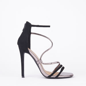 Gigi Black Metallic Barely There Heels