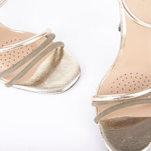 Load image into Gallery viewer, Gigi Khaki Metallic Barely There Heels