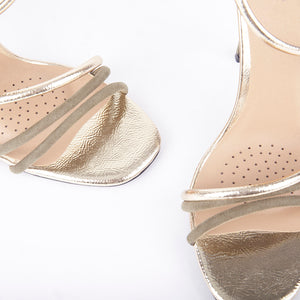 Gigi Khaki Metallic Barely There Heels