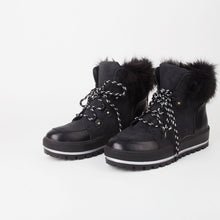 Load image into Gallery viewer, Faux Fur Fleece Lined Luxury Black Ski Style Winter Grip Sole Ankle  Boots
