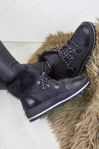 Faux Fur Fleece Lined Luxury Black Ski Style Winter Grip Sole Ankle  Boots