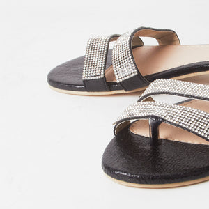Immy Black Crystal Flat Sliders