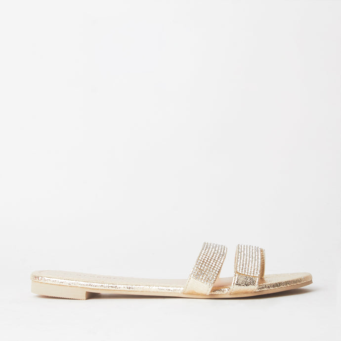 Immy Gold Crystal Flat Sliders