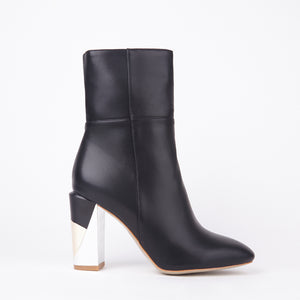 Imogen Black Mix Metal Ankle Boots