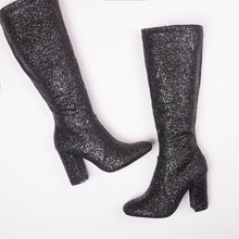 Load image into Gallery viewer, India Black Glitter Knee High Block Heel Boots