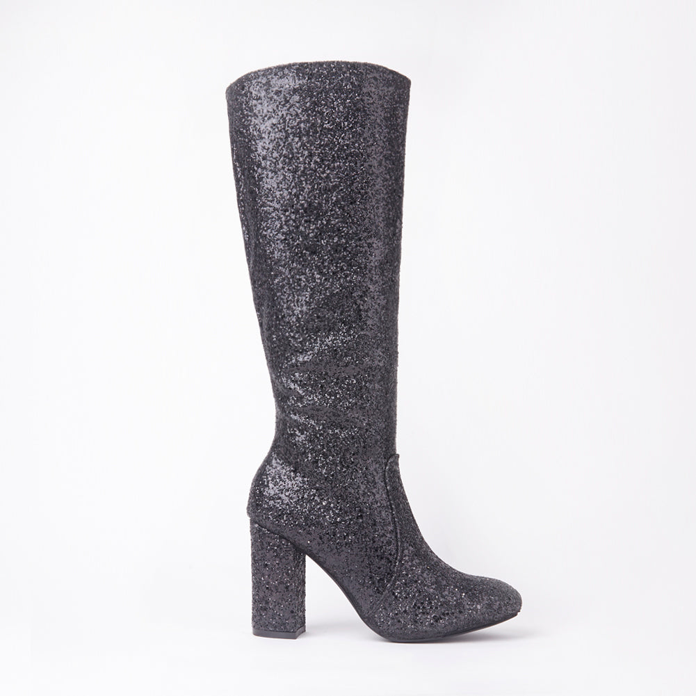India Black Glitter Knee High Block Heel Boots