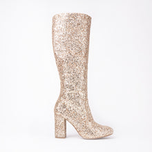 Load image into Gallery viewer, India Gold Glitter Knee High Block Heel Boots