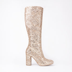 India Gold Glitter Knee High Block Heel Boots