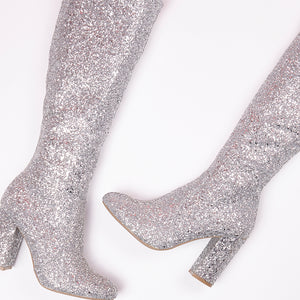 India Silver Glitter Knee High Block Heel Boots