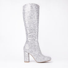 Load image into Gallery viewer, India Silver Glitter Knee High Block Heel Boots