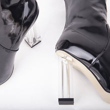 Load image into Gallery viewer, Isla Black Perspex Block Heel Ankle Boot