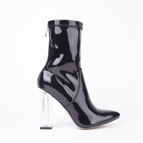 Isla Black Perspex Block Heel Ankle Boot