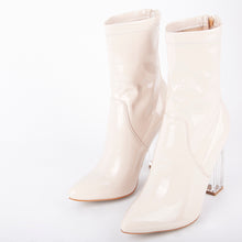 Load image into Gallery viewer, Isla Nude Perspex Block Heel Ankle Boot