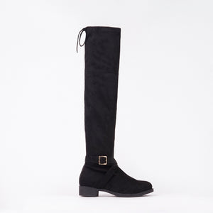 Jackie Faux Suede Knee High Buckle Boots
