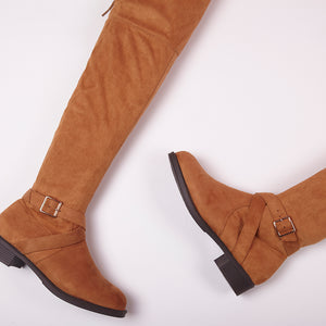 Jackie Tan Faux Suede Knee High Buckle Boots