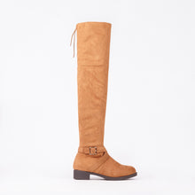 Load image into Gallery viewer, Jackie Tan Faux Suede Knee High Buckle Boots