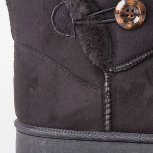 Black Faux Suede Button Detail Fleece Lined Winter Ankle Boots