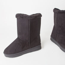 Load image into Gallery viewer, Black Faux Suede Button Detail Fleece Lined Winter Ankle Boots