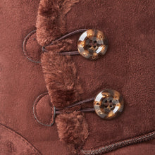 Load image into Gallery viewer, Brown Faux Suede Button Detail Fleece Lined Winter Ankle Boots