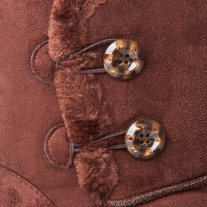 Brown Faux Suede Button Detail Fleece Lined Winter Ankle Boots