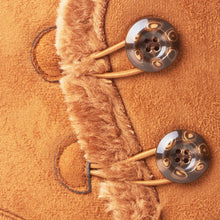 Load image into Gallery viewer, Chestnut Faux Suede Button Detail Fleece Lined Winter Ankle Boots