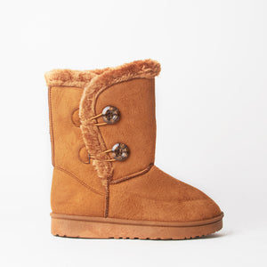 Chestnut Faux Suede Button Detail Fleece Lined Winter Ankle Boots