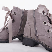 Load image into Gallery viewer, Jessy Grey Suede Ankle Boots With Satin Laces