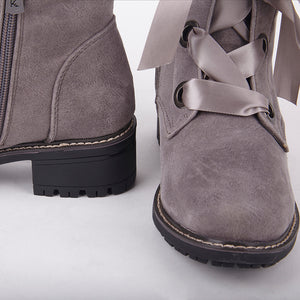 Jessy Grey Suede Ankle Boots With Satin Laces