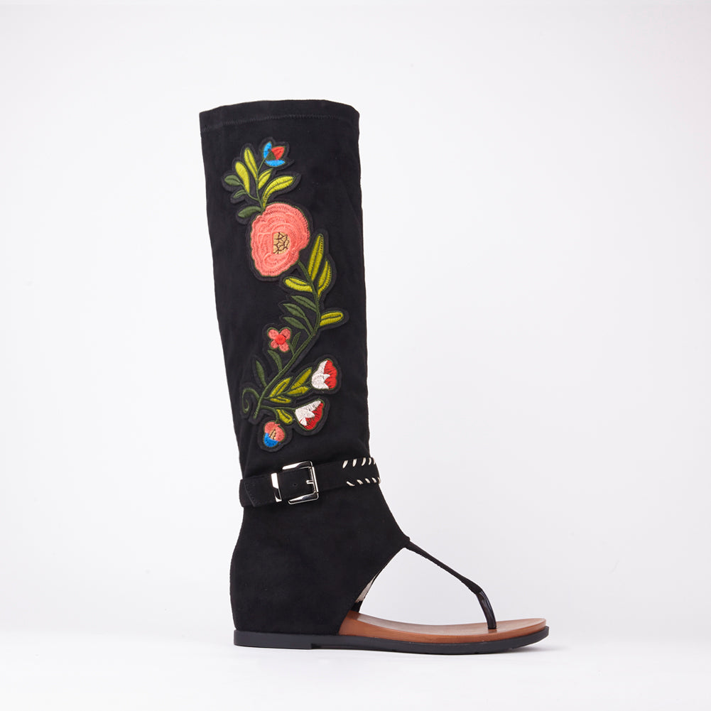 Jordan Black Embroidered Sandals