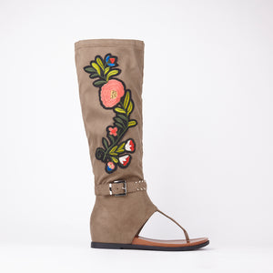 Jordan Khaki Embroidered Sandals