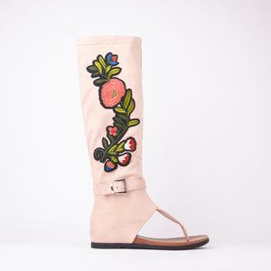 Jordan Pink Embroidered Sandals