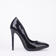 Load image into Gallery viewer, Black Patent High High Stiletto Court Shoes