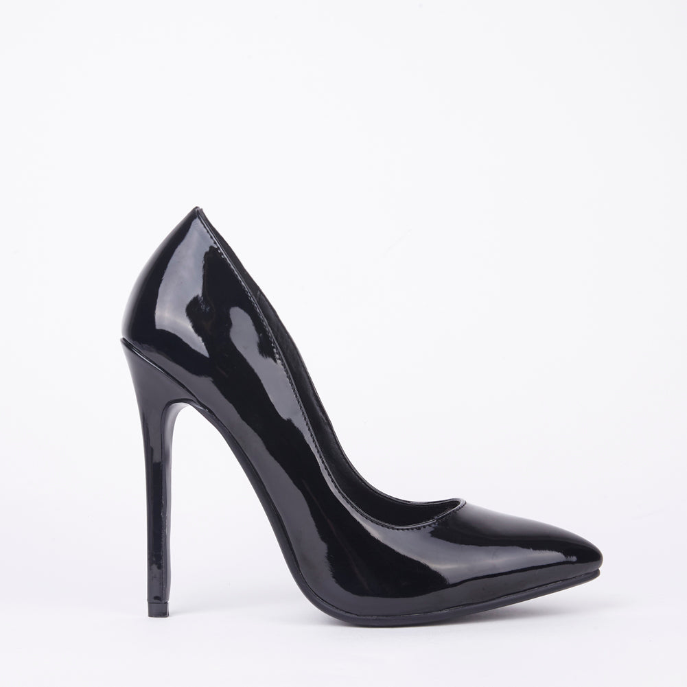 Black Patent High High Stiletto Court Shoes