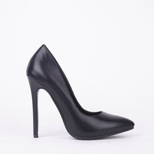 Load image into Gallery viewer, Black Matt High High Stiletto Court Shoes