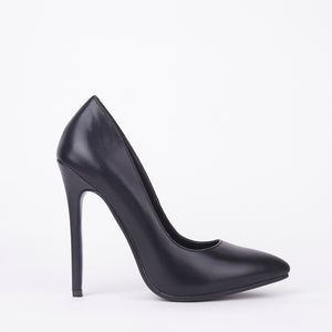 Black Matt High High Stiletto Court Shoes