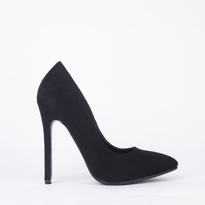 Black Suede High High Stiletto Court Shoes