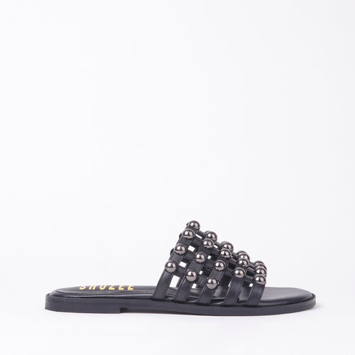 Josie Black Studded Cage Slider