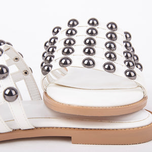Josie White Studded Cage Slider