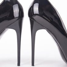 Load image into Gallery viewer, Julie Black Patent Court Heels