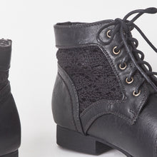 Load image into Gallery viewer, June Black Lace Up Ankle Boots With Embroidered Detail