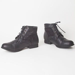 June Black Lace Up Ankle Boots With Embroidered Detail