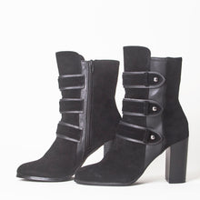 Load image into Gallery viewer, Kaia Black Faux Suede Buckle Boots