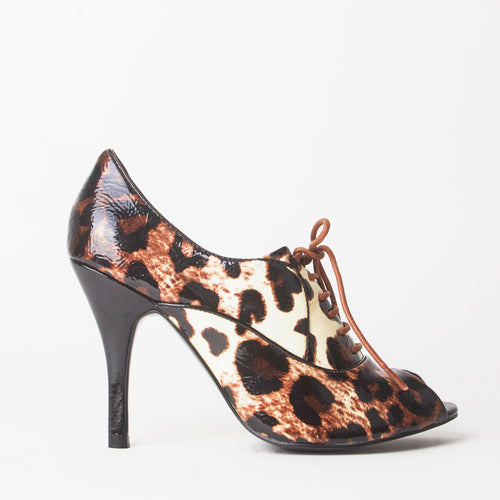 Kat Leopard Print Open Toe Lace Up Heels