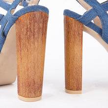 Load image into Gallery viewer, Kate Denim Wood Block Heel Strappy Sandals
