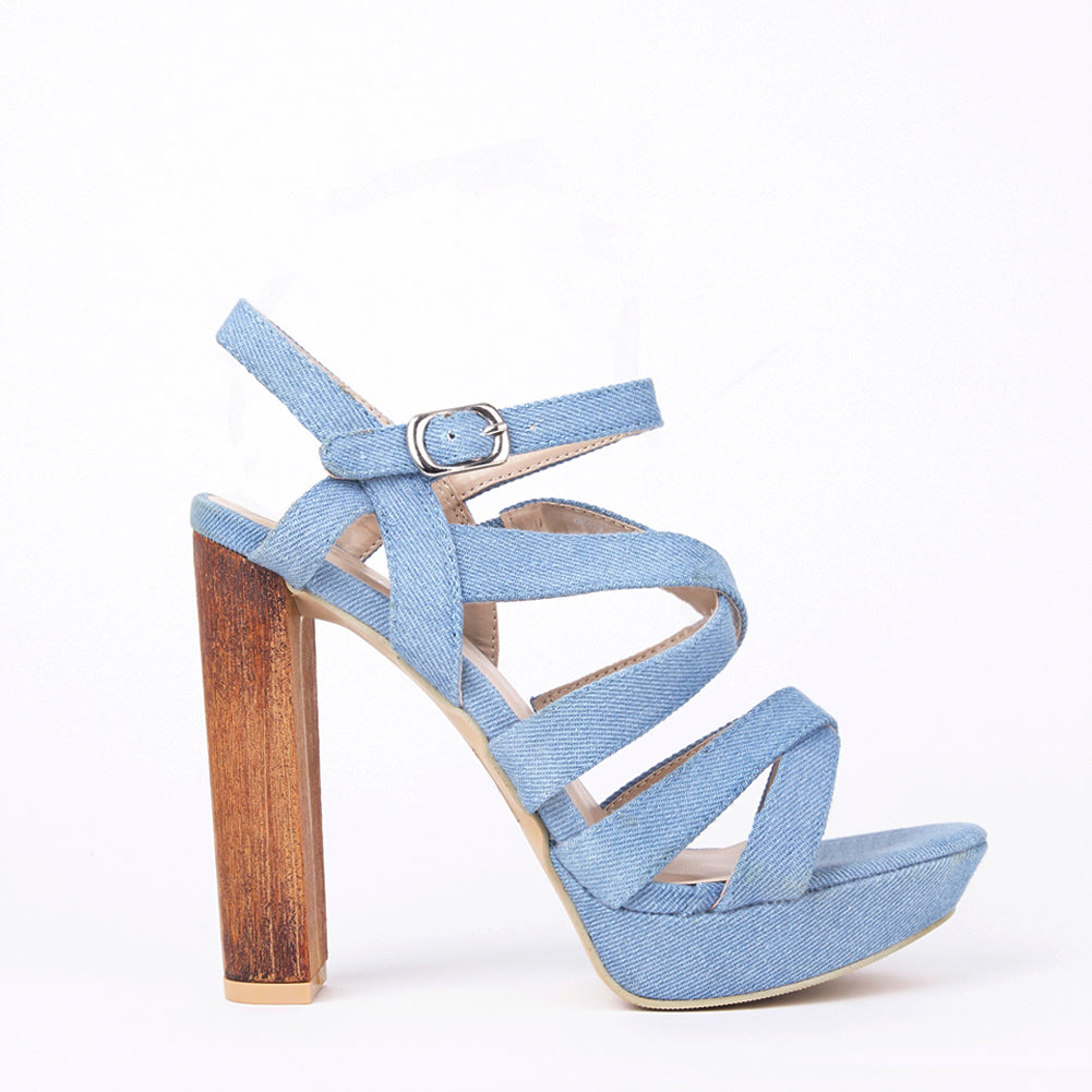 Kate Denim Wood Block Heel Strappy Sandals