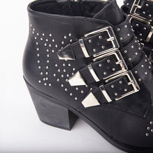 Load image into Gallery viewer, Kelly Black Studded Ankle Boots With Buckles