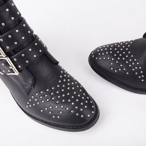 Kelly Black Studded Ankle Boots With Buckles