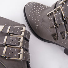 Load image into Gallery viewer, Kelly Grey Studded Ankle Boots With Buckles