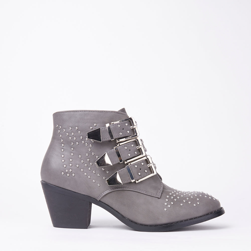Kelly Grey Studded Ankle Boots With Buckles