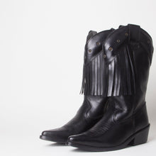 Load image into Gallery viewer, Kelsey Black Western Cowboy Knee High Boots With Tassels